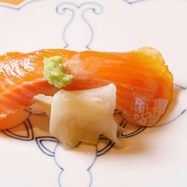 琵琶サーモン、漬け握り鮨