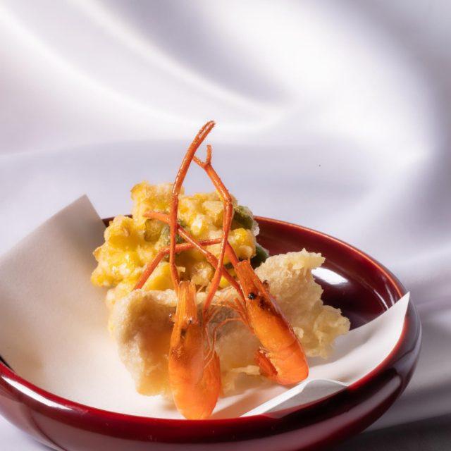 玉蜀黍かき揚げ、手長海老岩とこ鯰天ぷら
