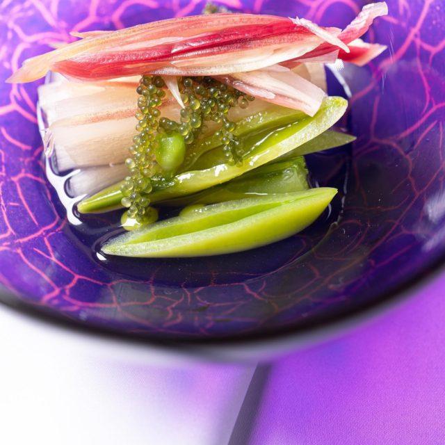 白芋茎、スナップ豌豆冥加、海ぶどう 酢の物器 抹茶椀瑠璃