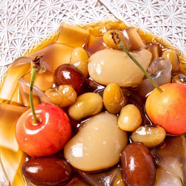 本日のデザート 葛切り蜜豆