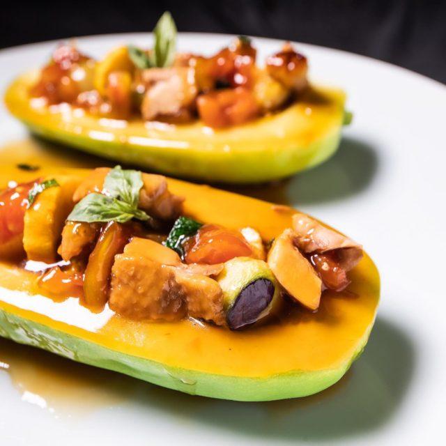 淡海鳥と賀茂茄子トマト煮込み 青瓜盛り込み