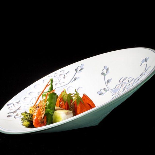 八寸 ほうずき盛 玉蜀黍煮凝りプチトマト煮凝り陸蓮根 鮎砧巻すし鰻巻玉子…